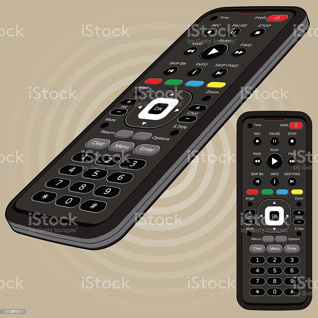 Remote Control - Front and Right side profile vector art illustration