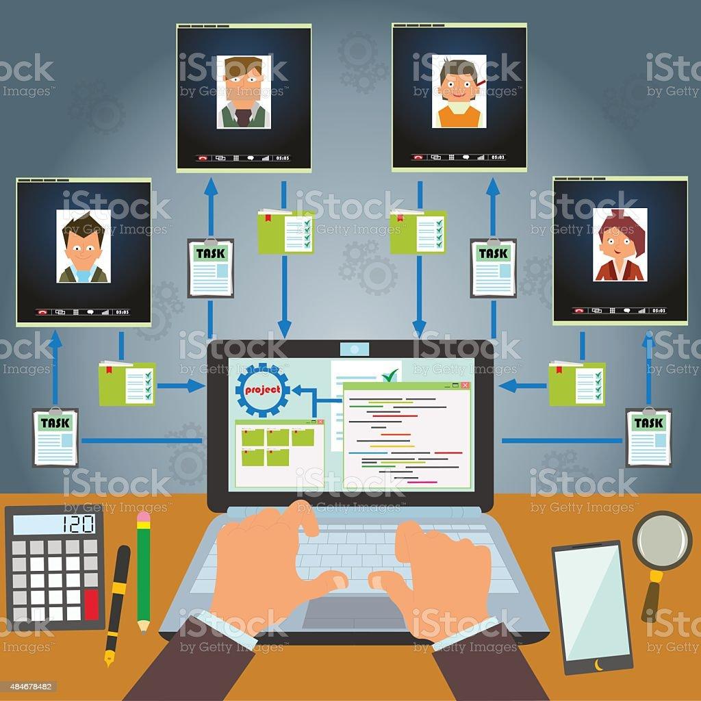 Remote control staff vector art illustration