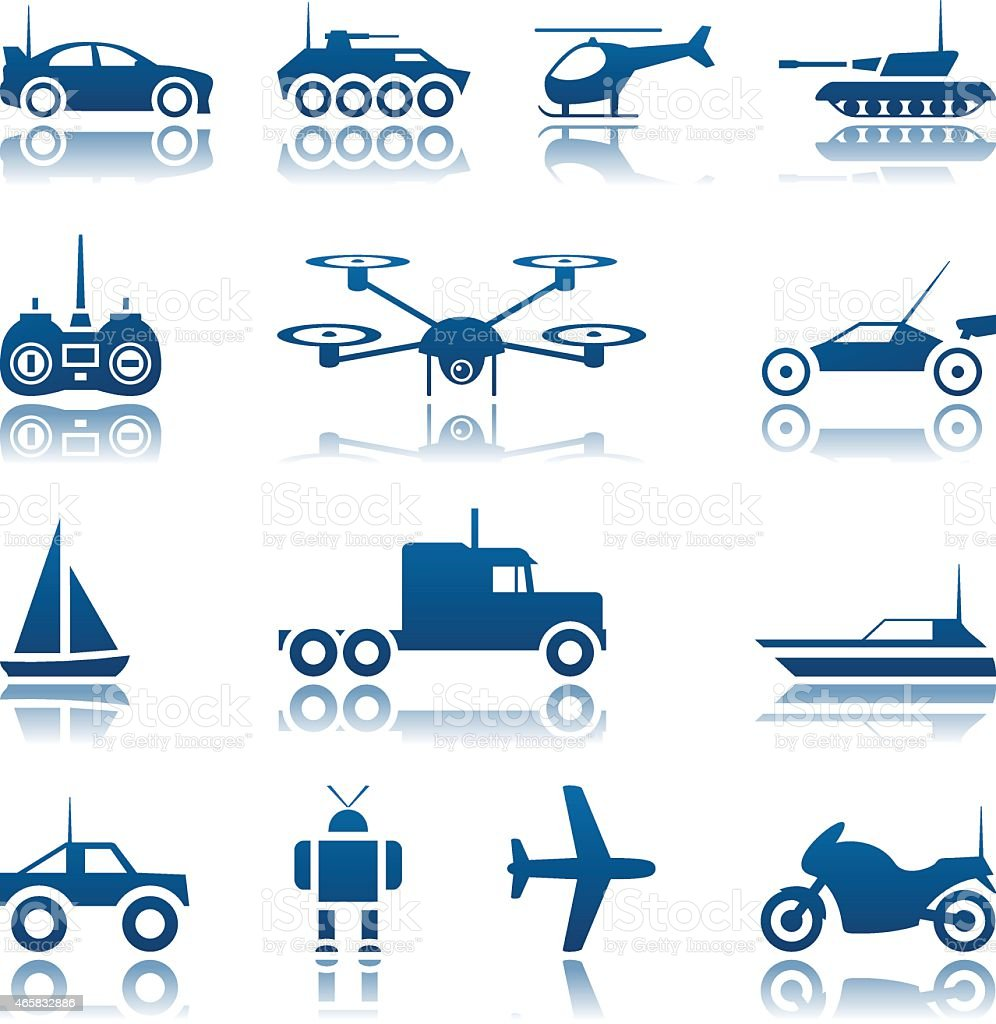 Remote controlled toys icon set vector art illustration