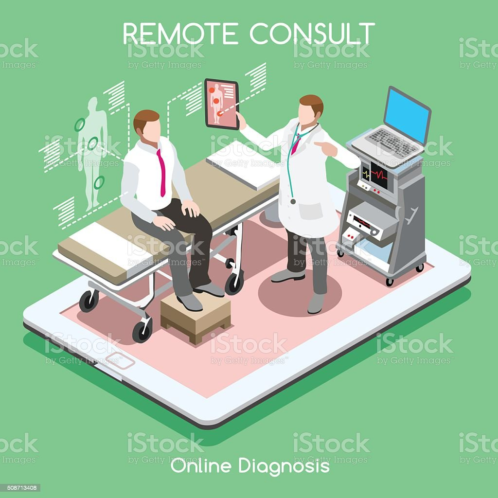 Remote Doctor 01 People Isometric vector art illustration