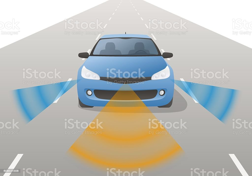 Remote Sensing System of Vehicle, front view vector art illustration