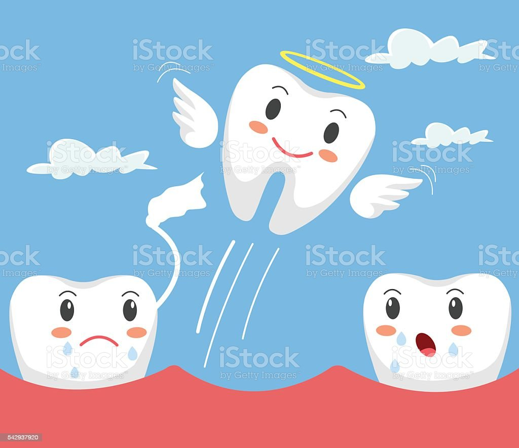 Removal of tooth. Teeth character. Vector flat cartoon illustration vector art illustration