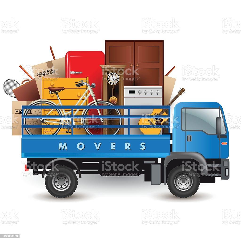 Removals truck vector art illustration