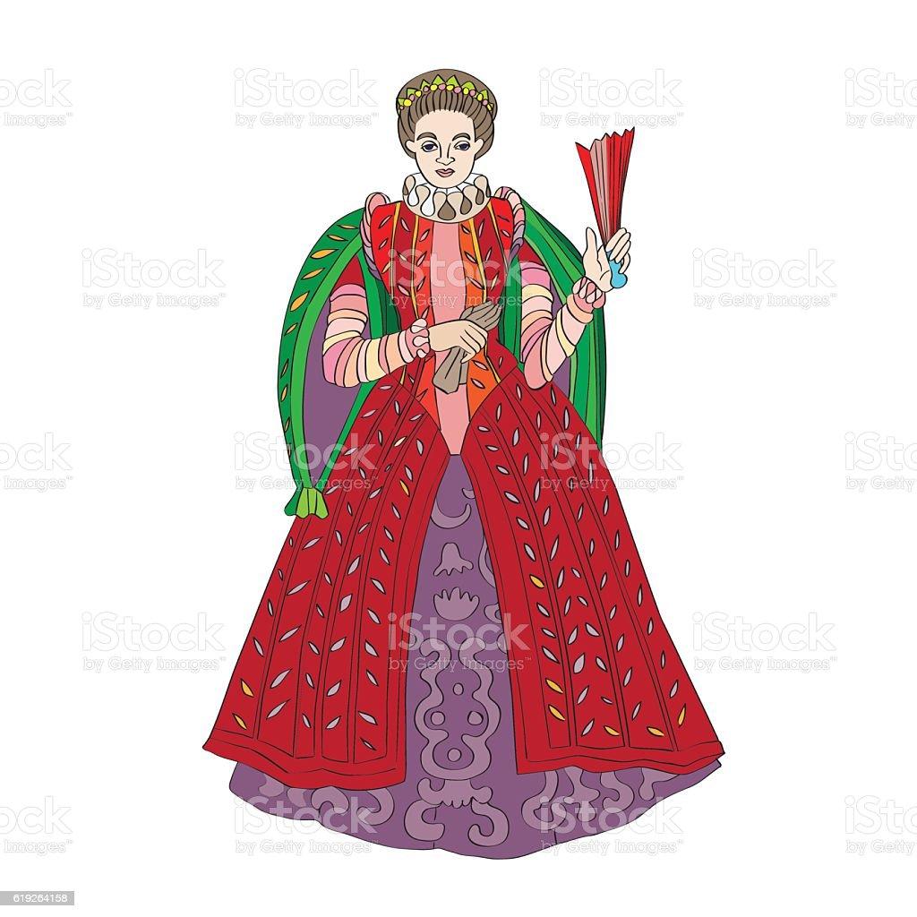 Renaissance woman fashion vector art illustration
