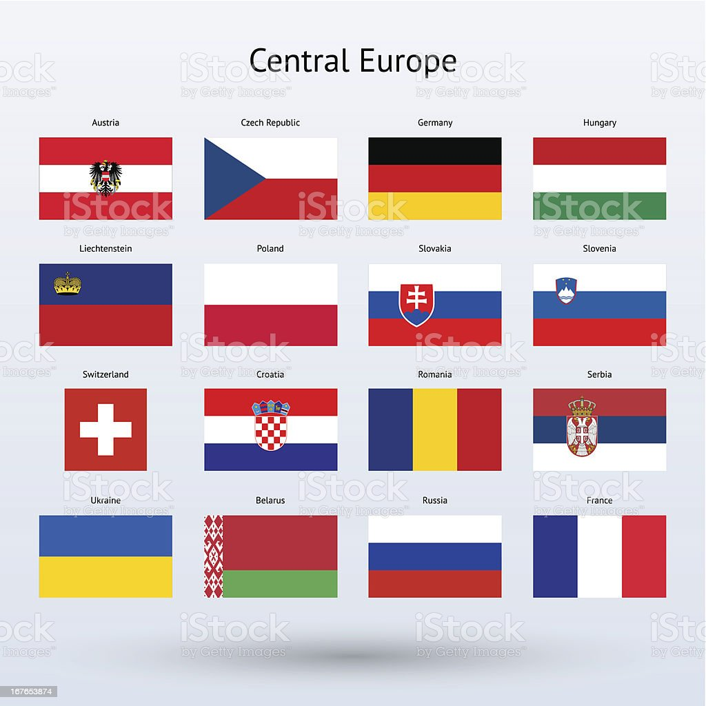 Rendered flags of Central Europe countries vector art illustration
