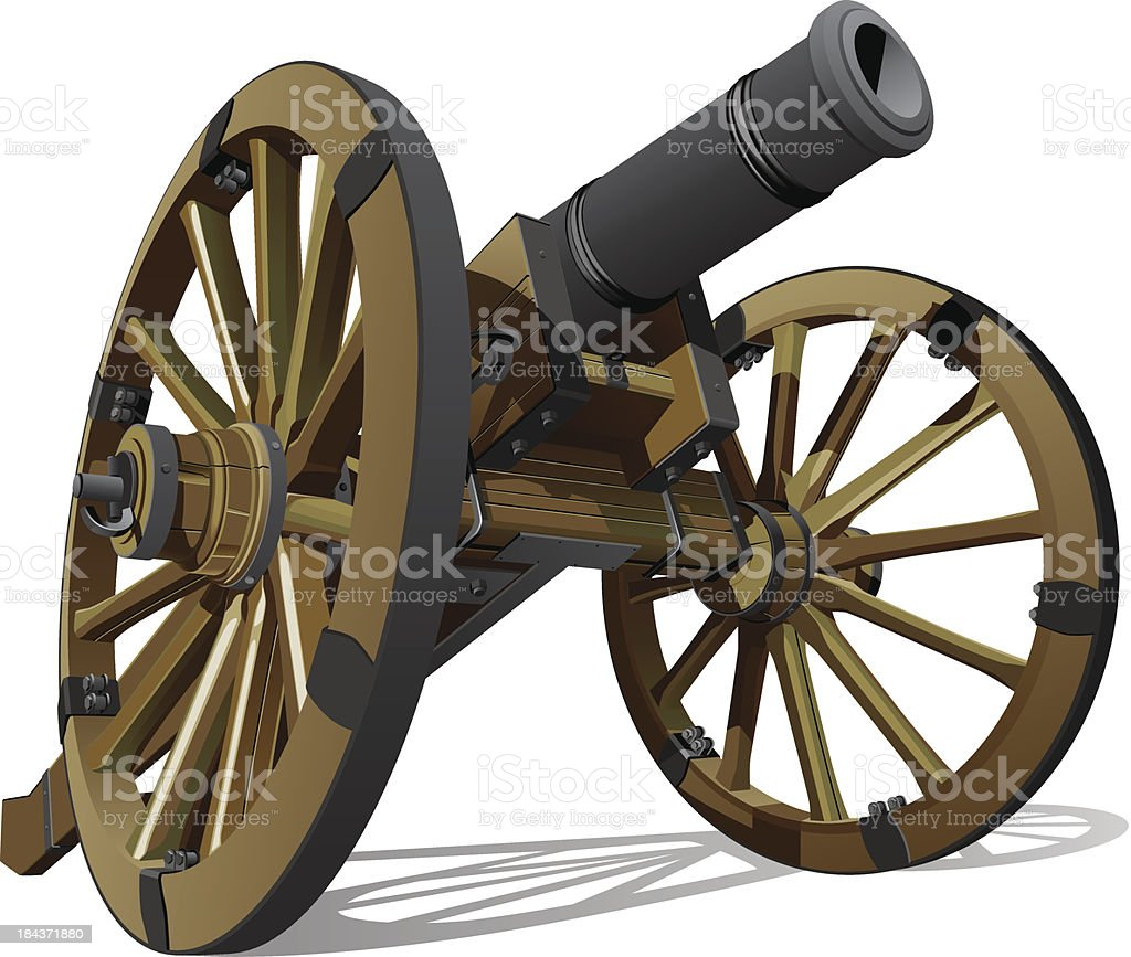 A 3D rendering of an old gun cannon vector art illustration