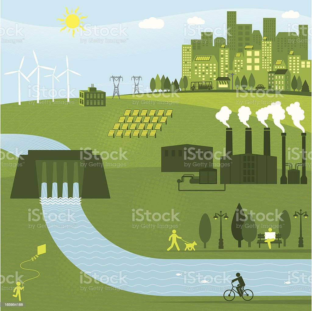 Renewable Energies vector art illustration