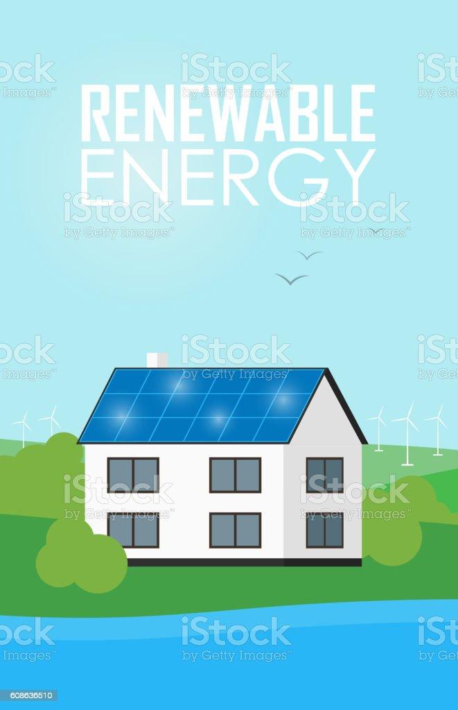 Renewable energy banner. Solar panels on house vector art illustration
