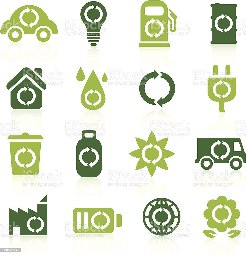 Renewable Energy Icons vector art illustration