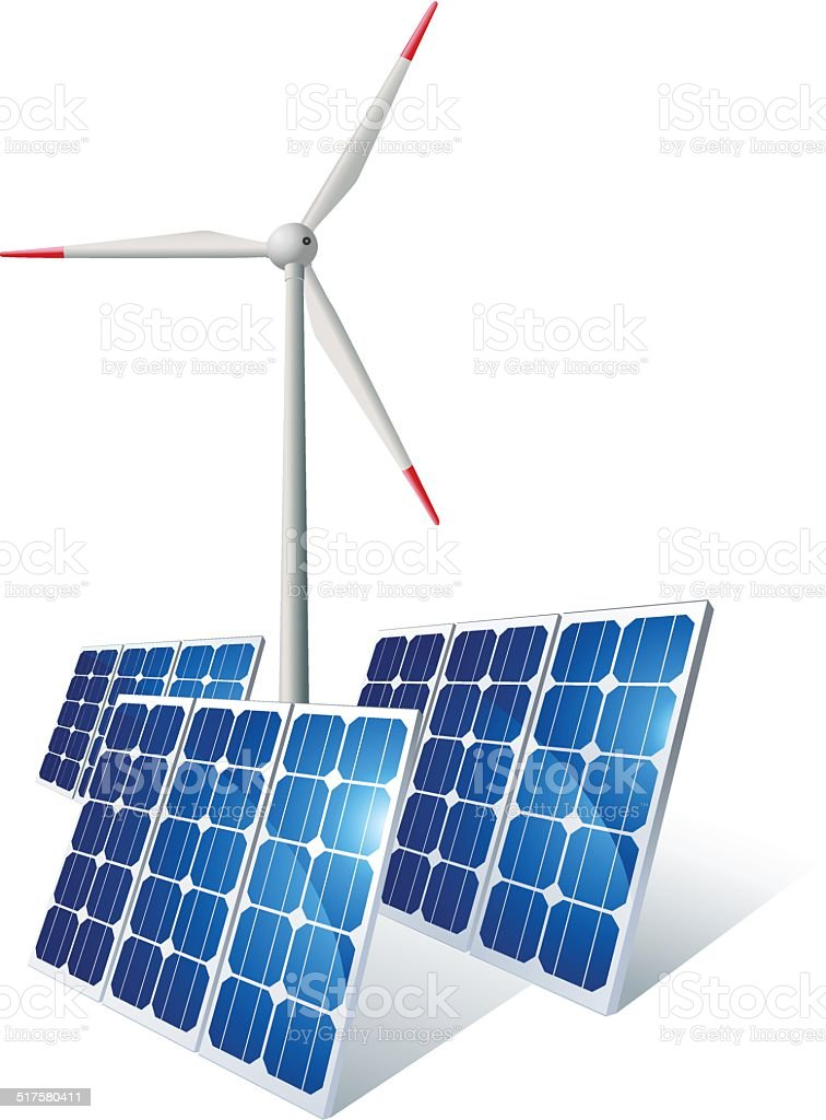 Renewable Energy - Wind turbine and solar panels vector art illustration
