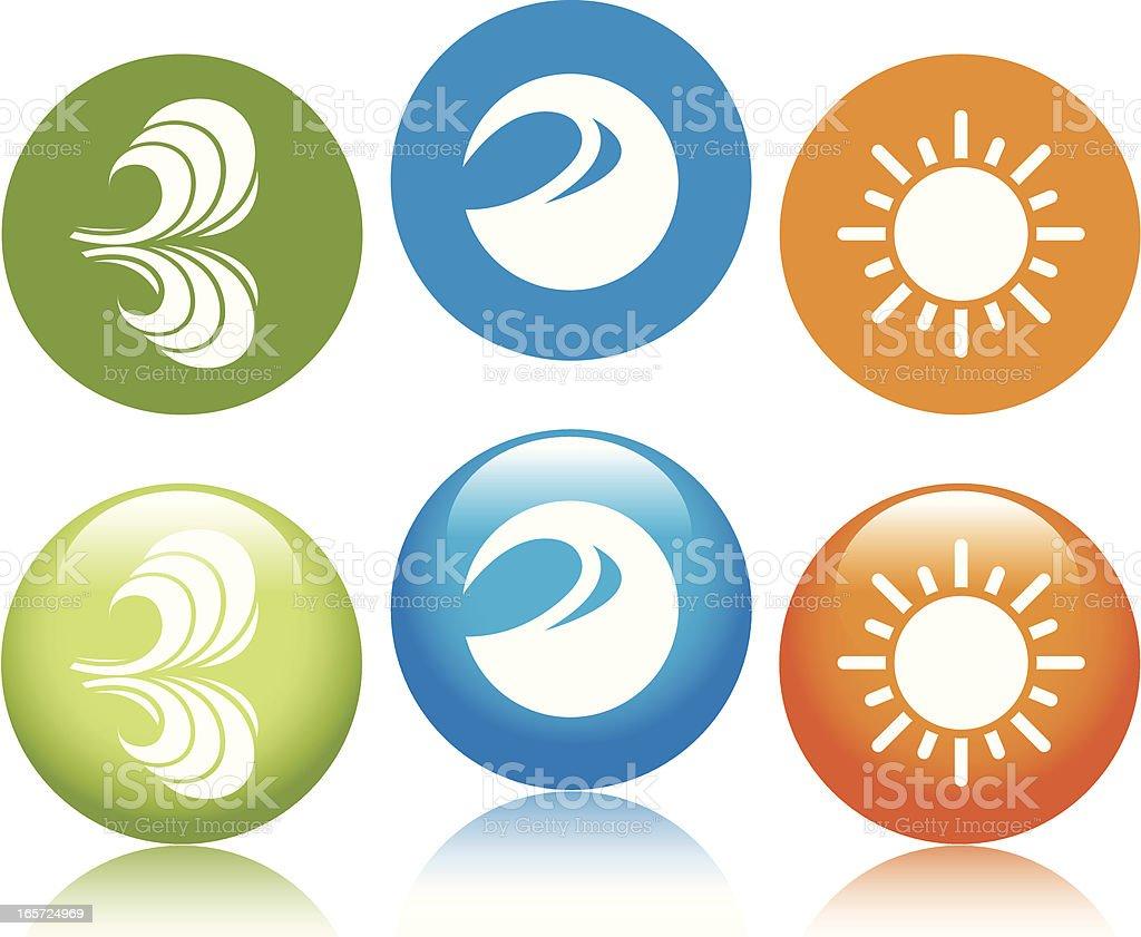 Renewable Resources Icons vector art illustration