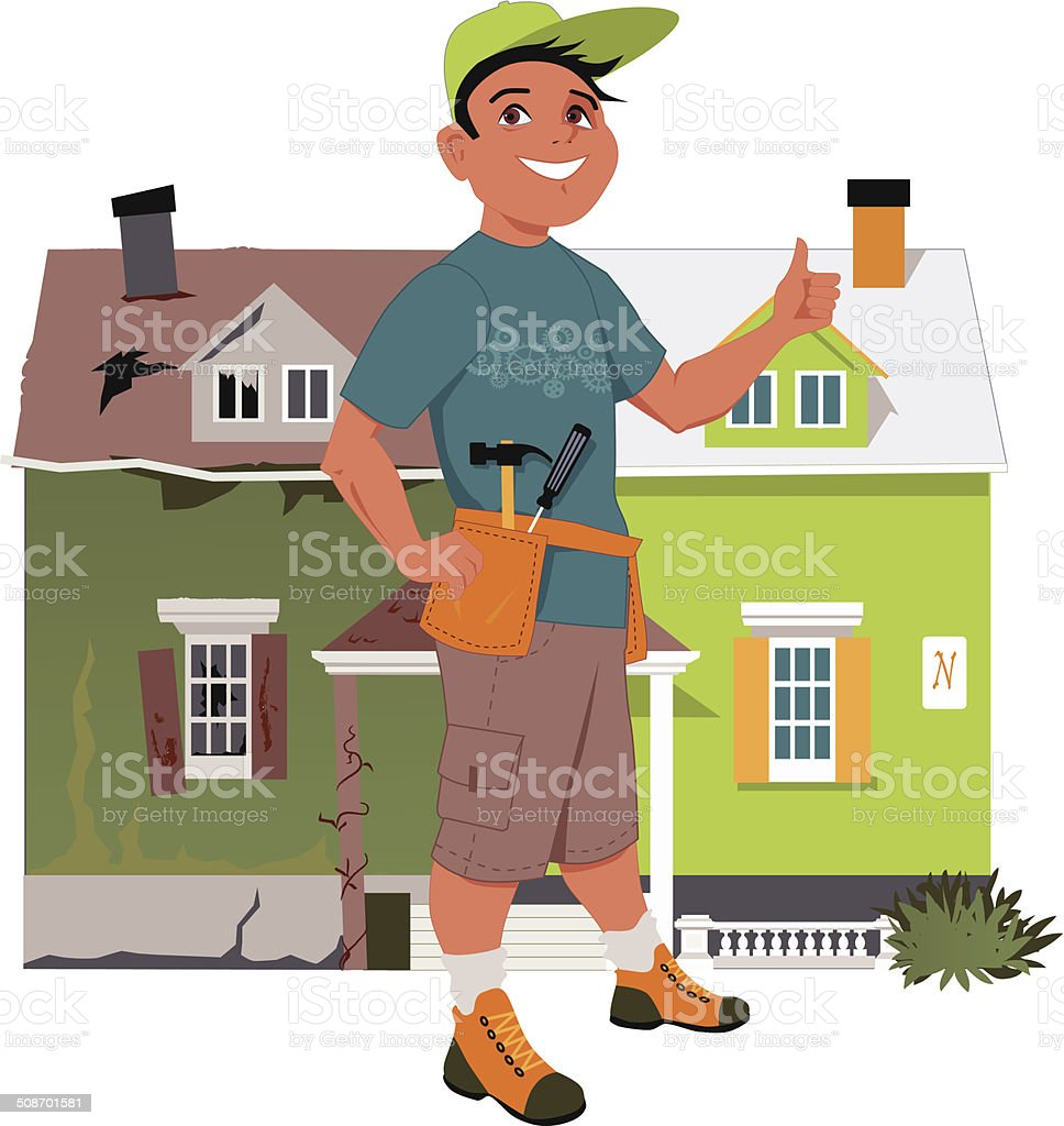 Renovate a house vector art illustration