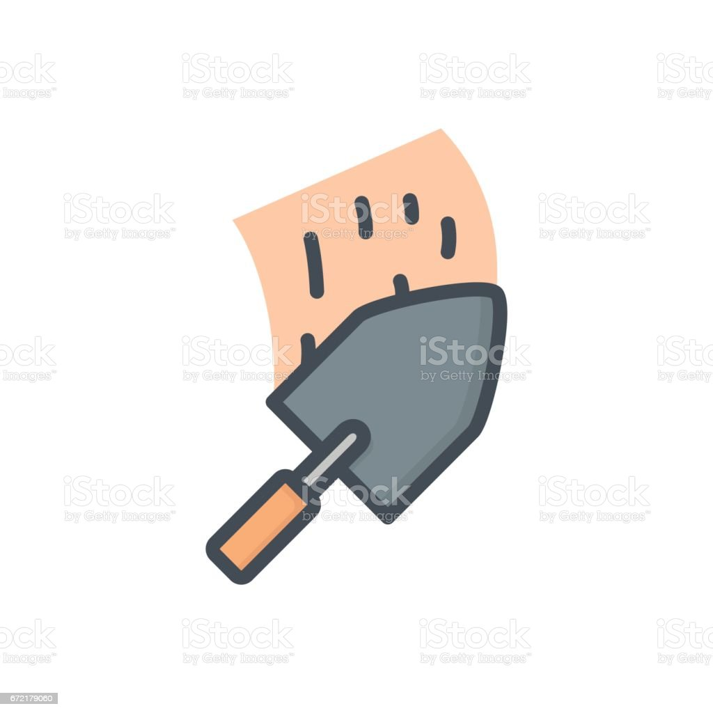 Renovation Work Service Colored Icon Trowel vector art illustration