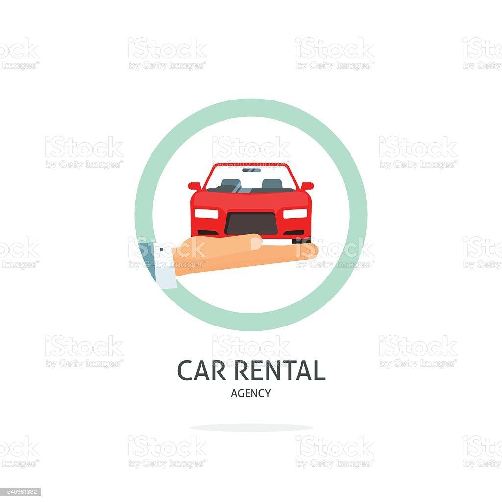 Rent a car agency vector logo, rental automobile dealer concept vector art illustration