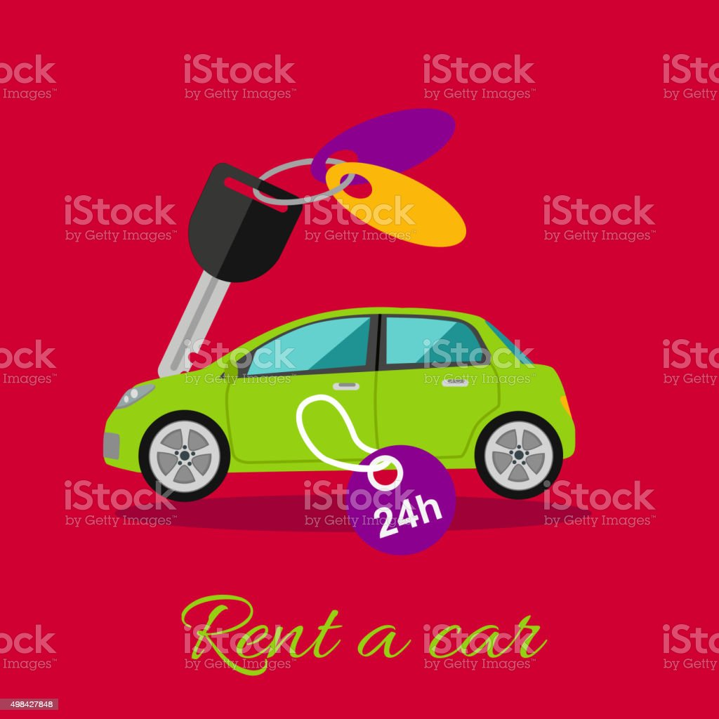 Rent a Car vector art illustration
