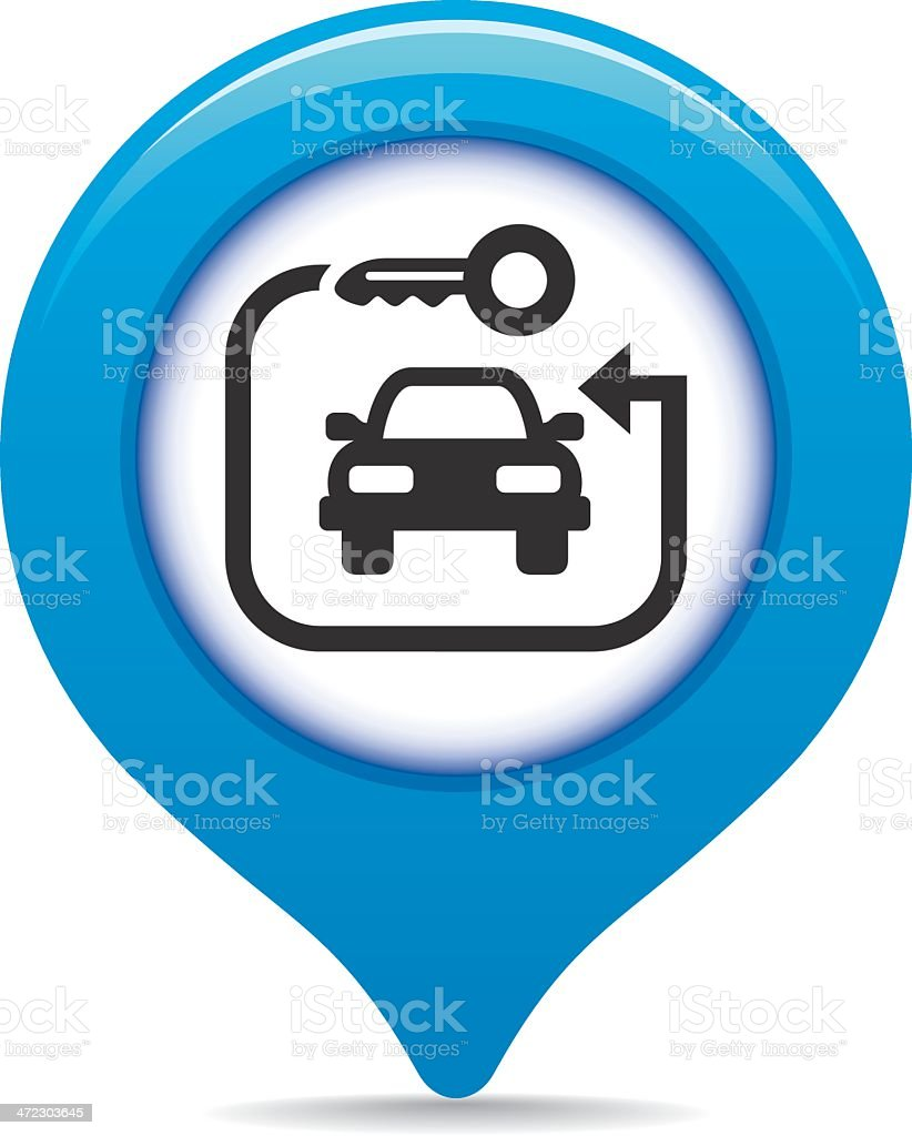Rent-a-car map pointer royalty-free stock vector art