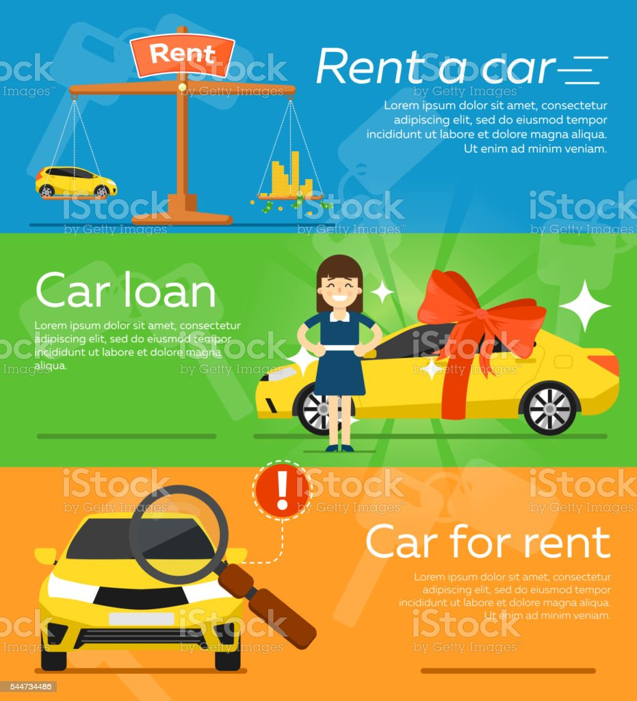Rental car banners. vector art illustration