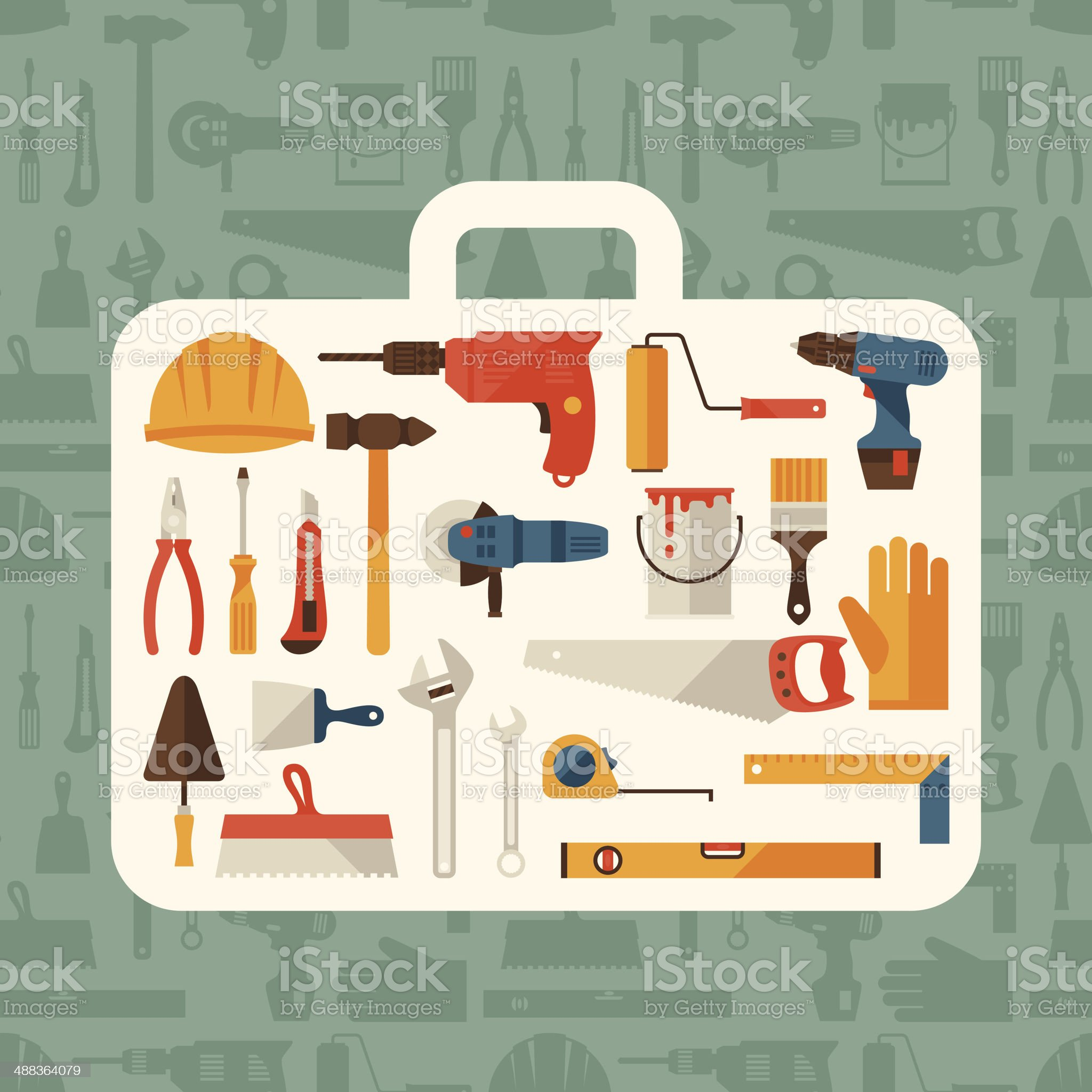 Repair and construction illustration with working tools icons. royalty-free stock vector art