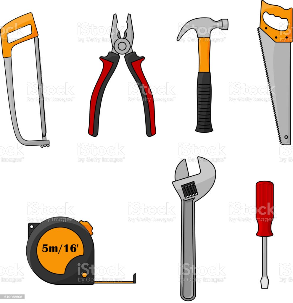 Repair and construction work tools isolated icons vector art illustration