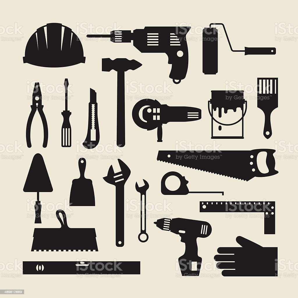 Repair and construction working tools icon set. royalty-free stock vector art