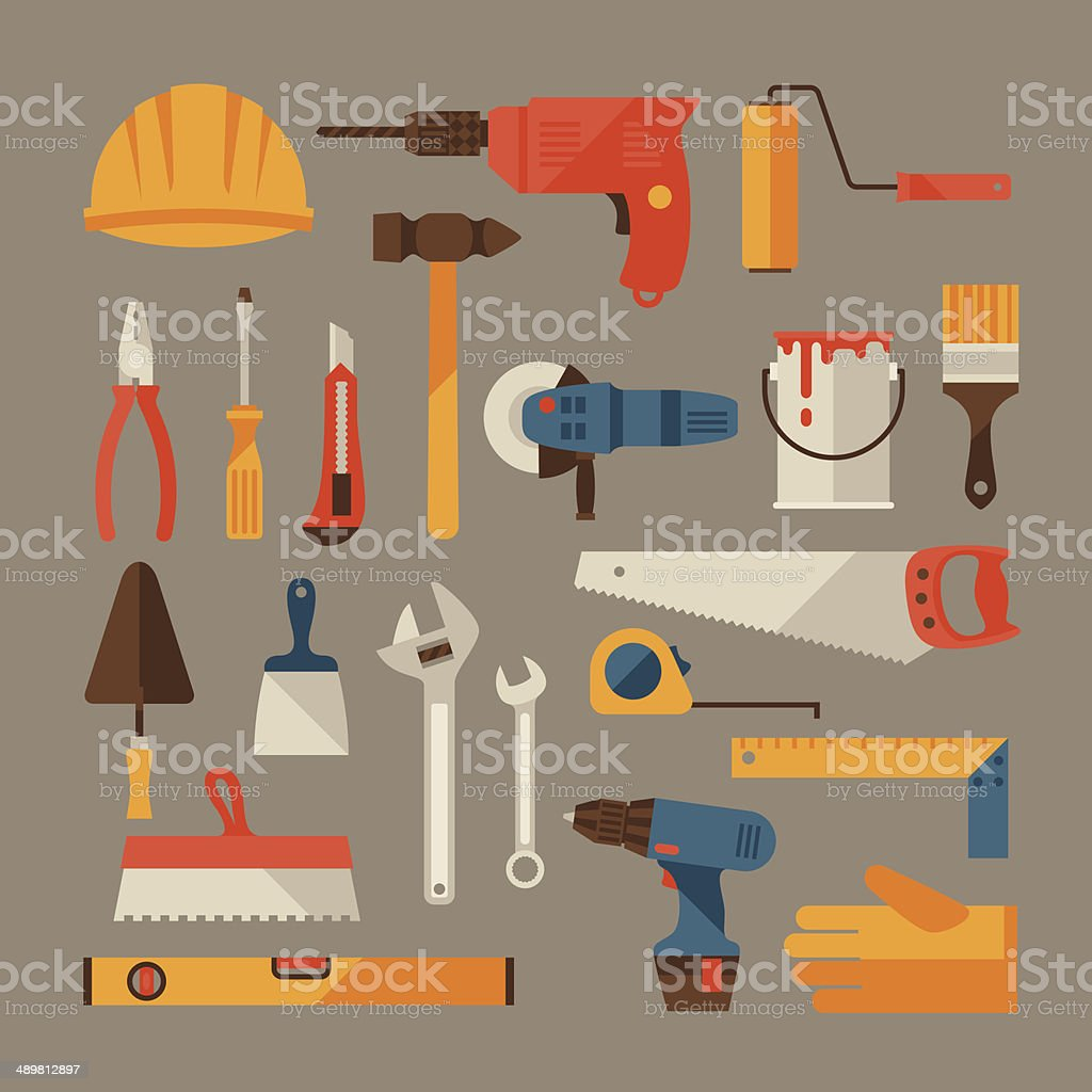 Repair and construction working tools icon set. vector art illustration