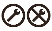 Repair and no repair symbol