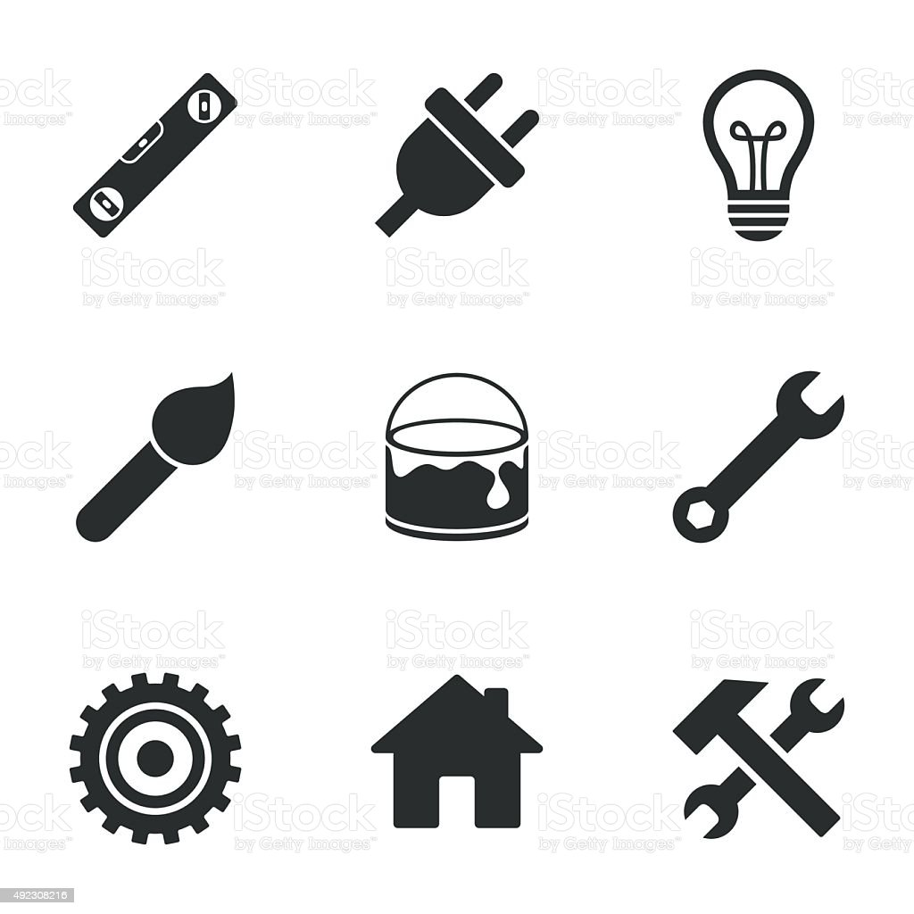 Repair, construction icons. Hammer, wrench tool vector art illustration