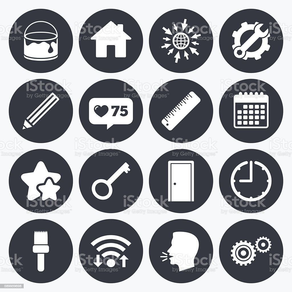 Repair, construction icons. Service signs. vector art illustration