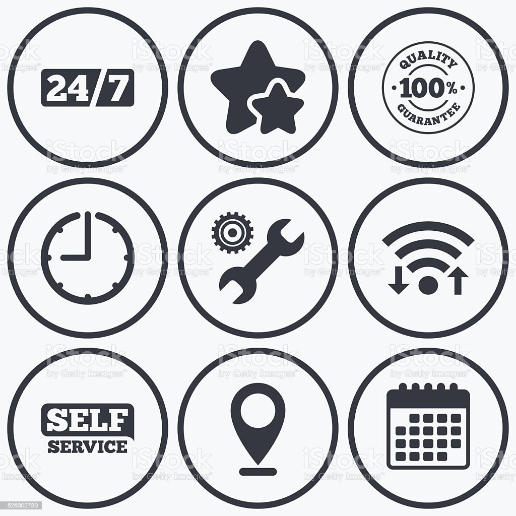 Repair fix tool icons. Customer service signs. vector art illustration