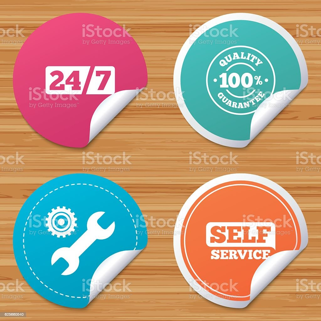 Repair fix tool icons. Customer service signs. vector art illustration