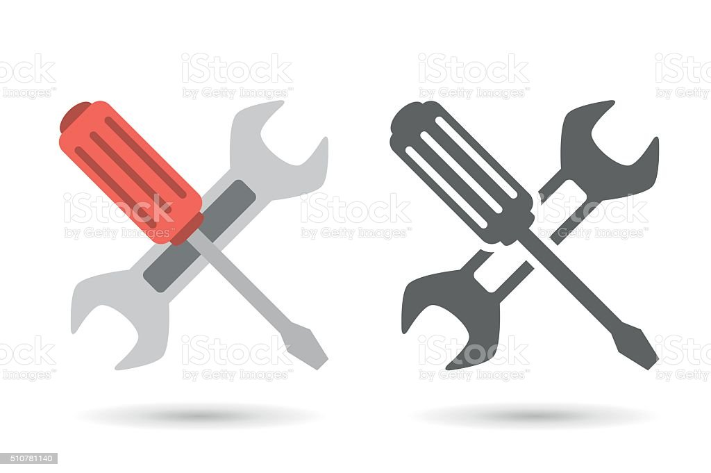 Repair icon. Wrench and screwdriver vector art illustration