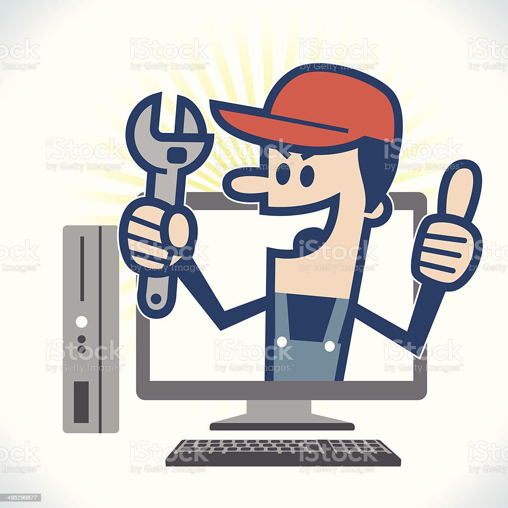 PC repair man vector art illustration