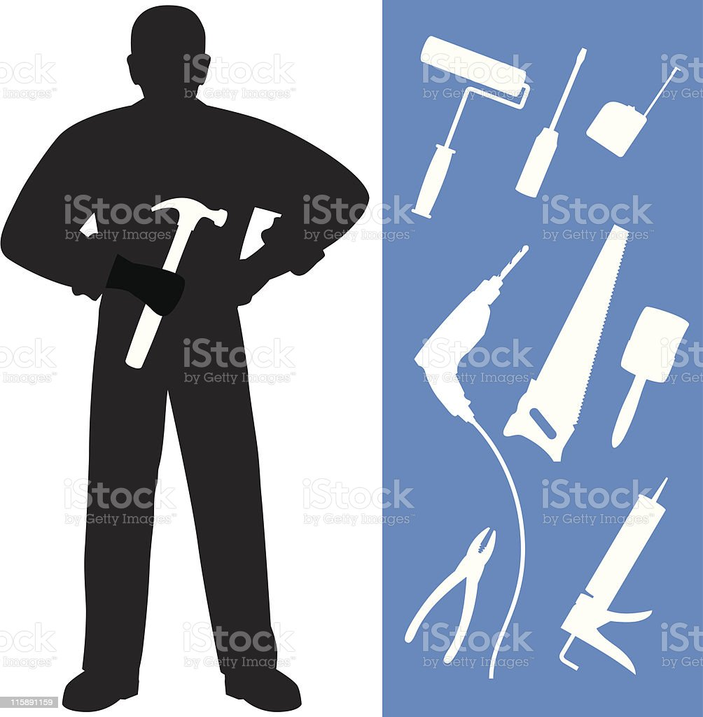 Repair Man w/Extra Tools royalty-free stock vector art