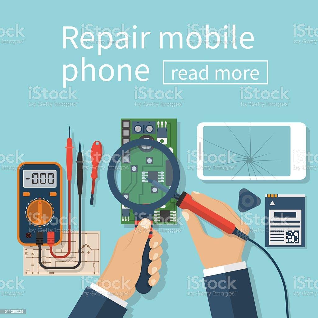 Repair mobile phone. vector art illustration