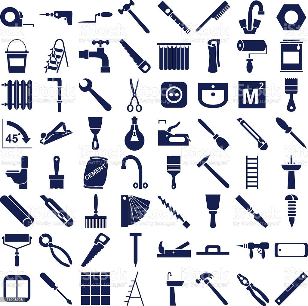 repair tools icons on white vector art illustration