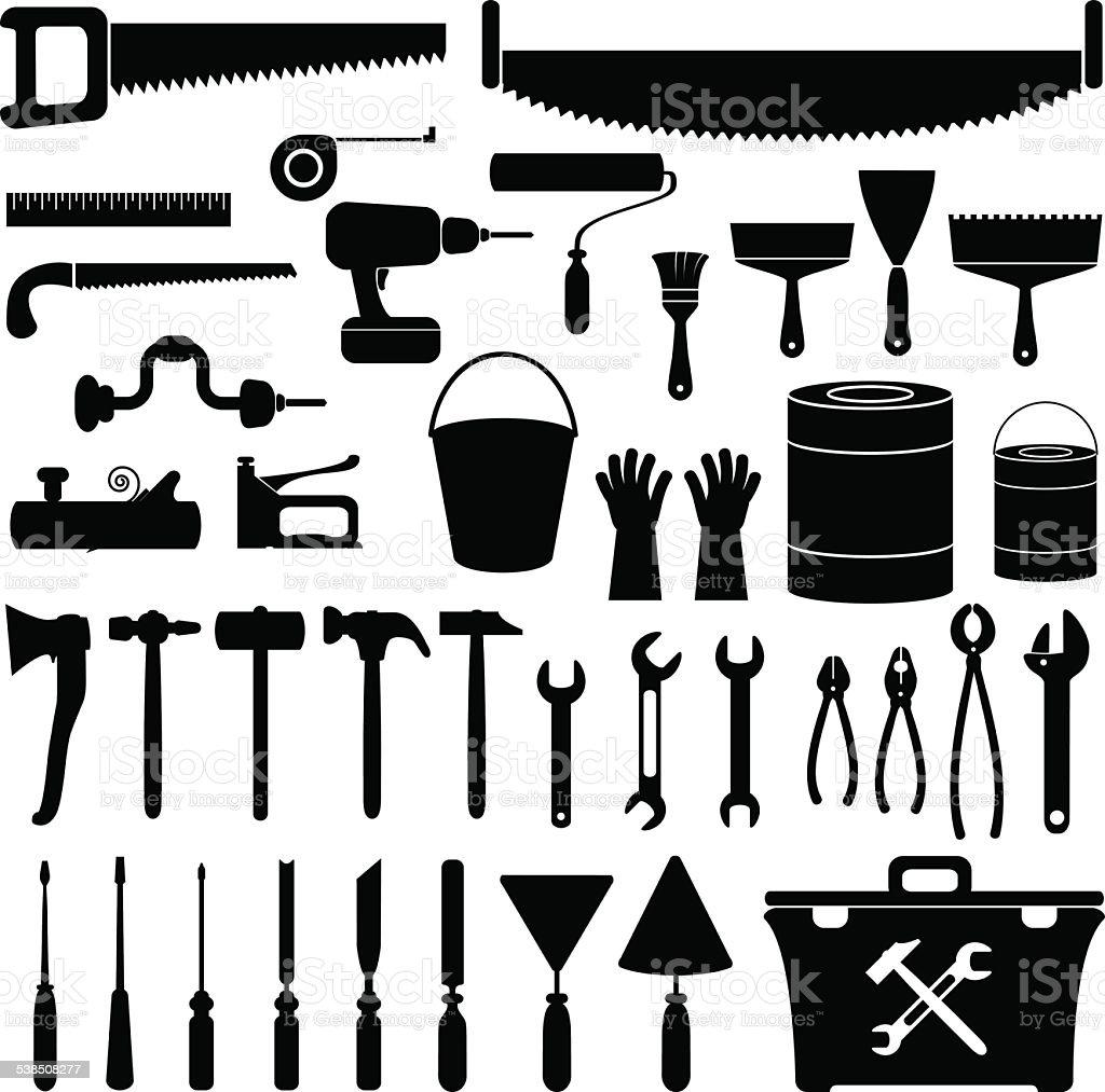 Repair tools vector art illustration
