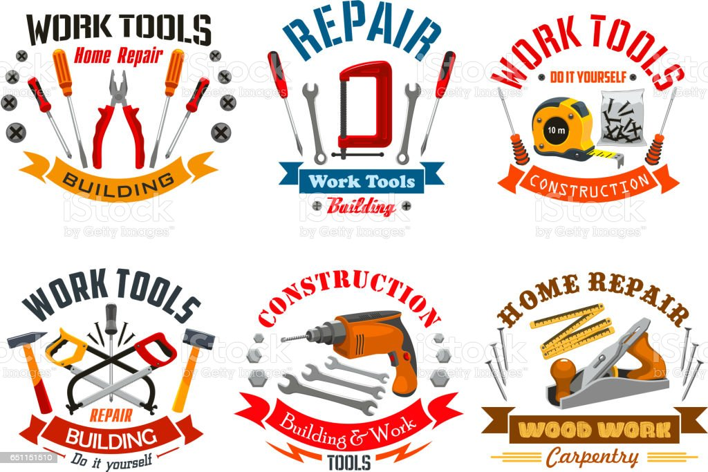 Repair work tools vector icons set vector art illustration