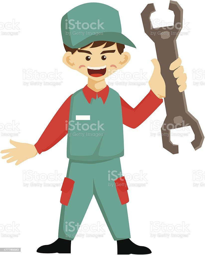 Repairman and Screwdriver royalty-free stock vector art