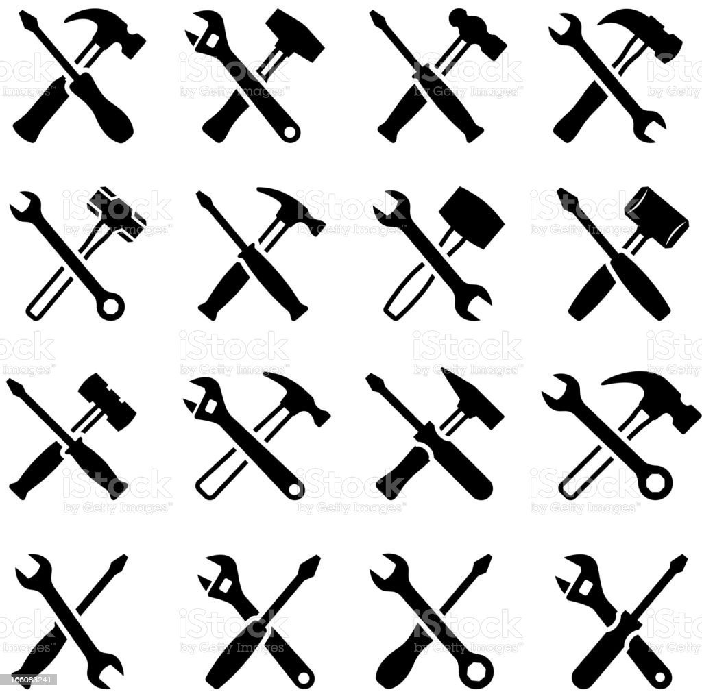 Repairman Construction Tools black & white vector icon set vector art illustration