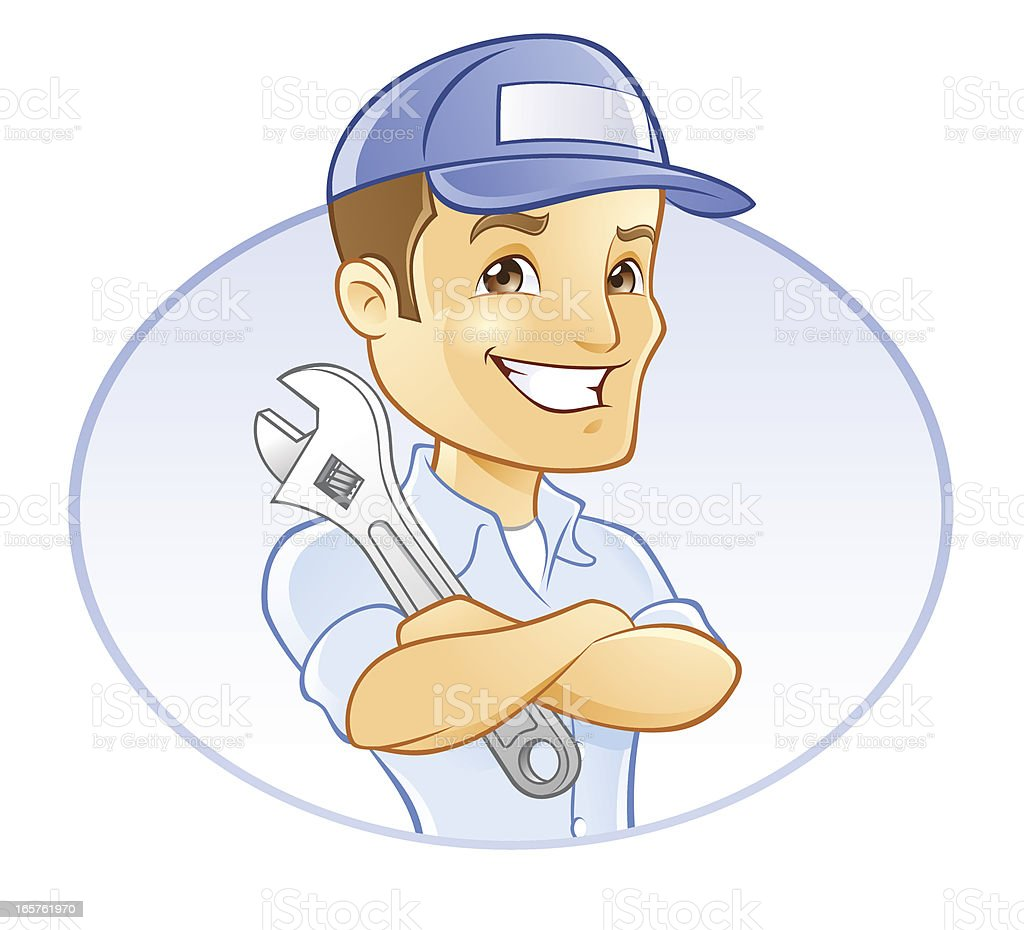 Repairman, Handyman, Mechanic, or Plumber with Wrench vector art illustration