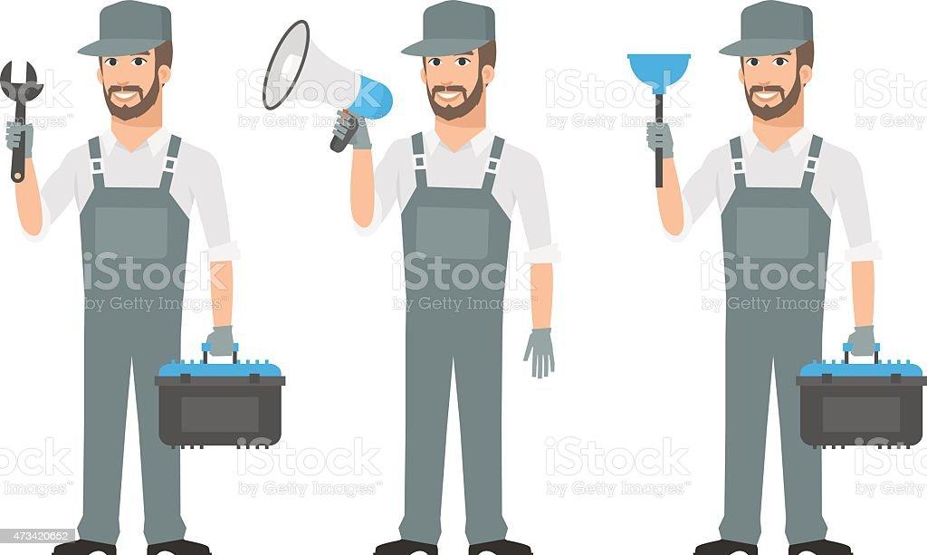 Repairman holding tools wrench megaphone plunger vector art illustration