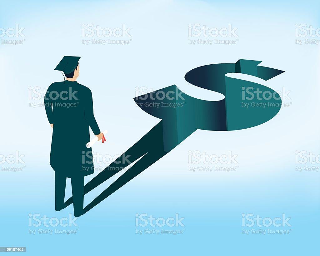 Repayment of student loans after graduation vector art illustration