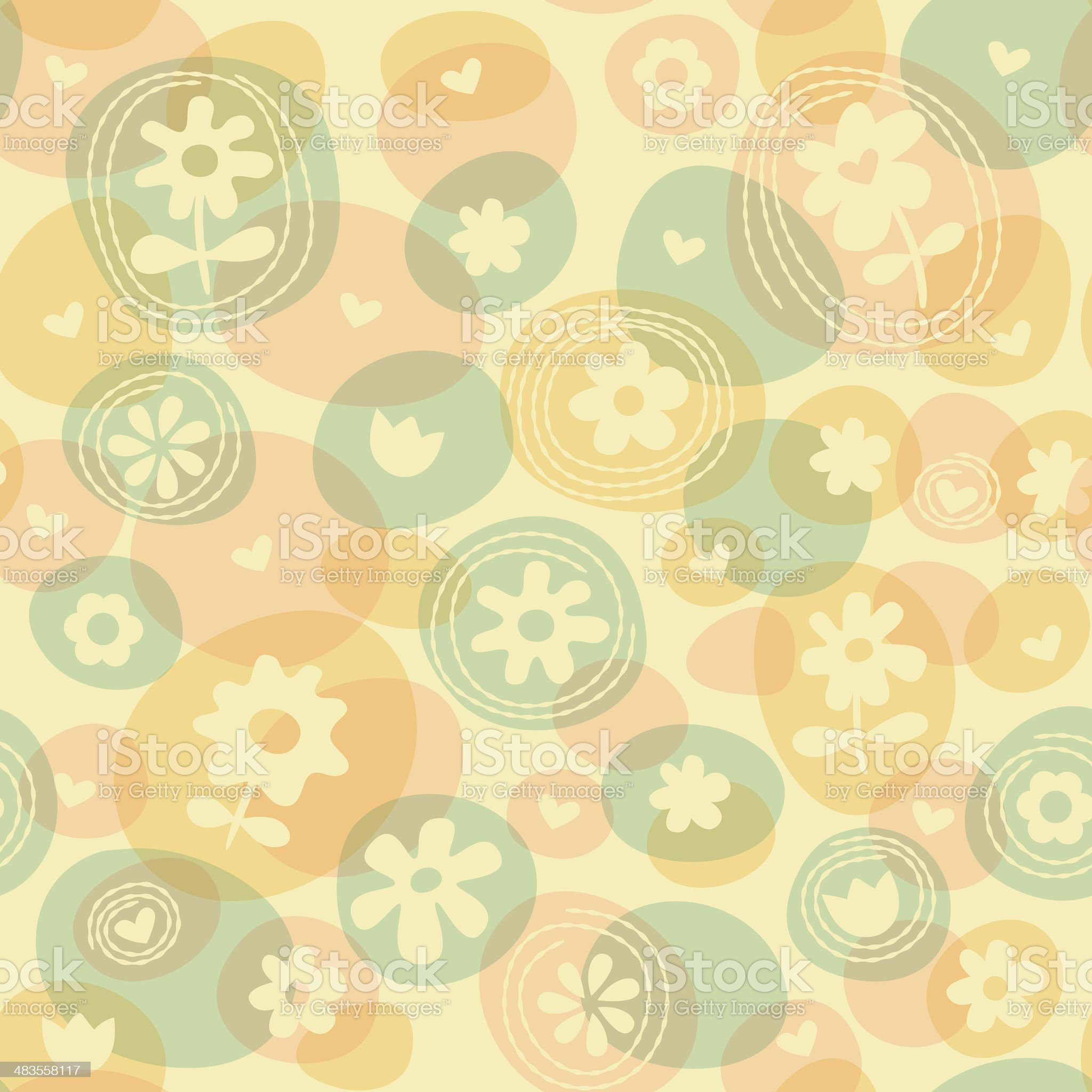 Repeat Spring Flowers Fun Stitched Pattern royalty-free stock vector art