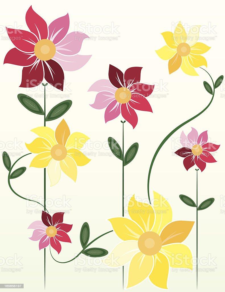 Nachvollziehbare Blumen Design: Rosa-, gelb Lizenzfreies vektor illustration
