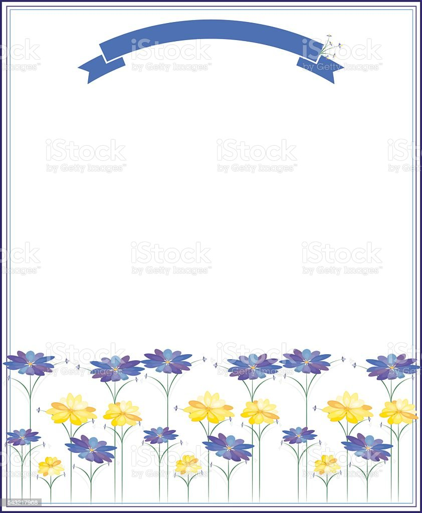 Repeatable Stylized Flowers Design, Background in Blues, Purples, Yellows, Greens vector art illustration