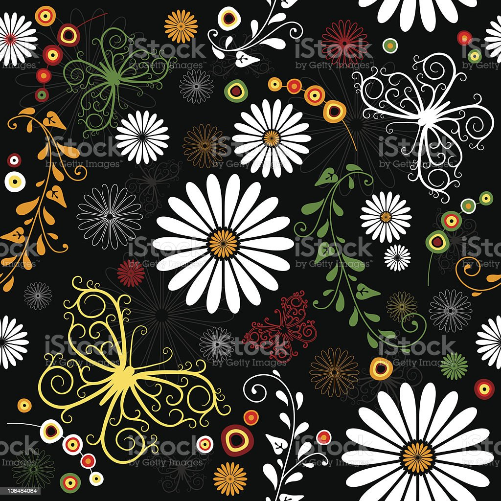 Repeating floral black pattern royalty-free stock vector art
