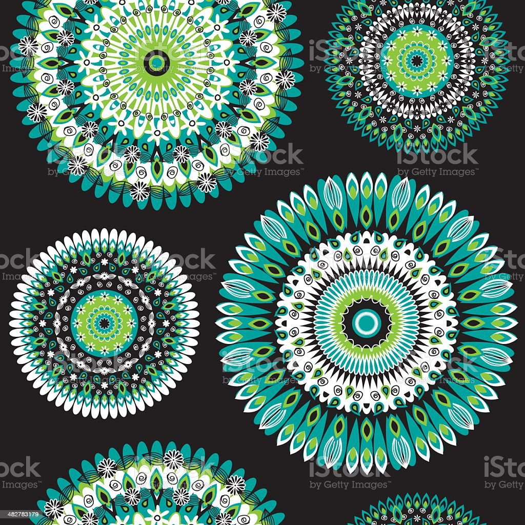 Repeating oriental pattern vector art illustration