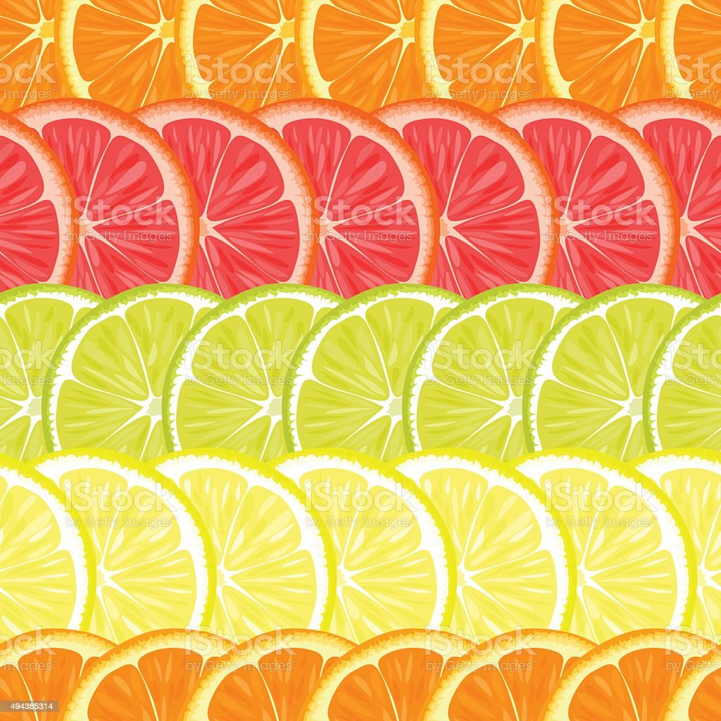 Repeating seamless pattern of different citruses. vector art illustration