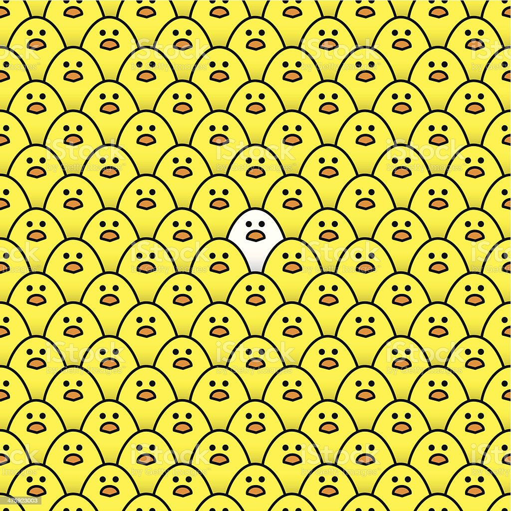 Repeating Staring Yellow Chicks with one White Chick vector art illustration