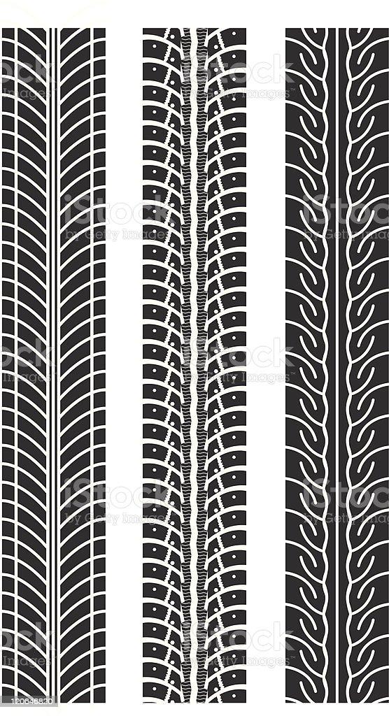 repeating tire tracks vector art illustration